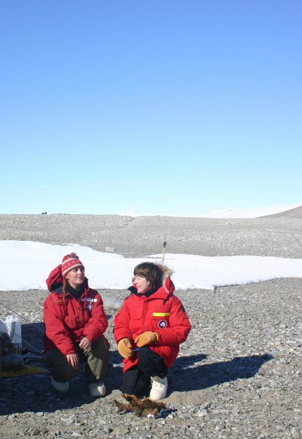 Sen. Susan Collins talks with University of Maine professor Brenda Hall from UMaine's Climate Change Institute during her trip to Antarctica in this January 2006 file photo.