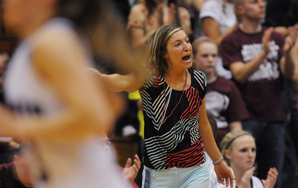 Nokomis's head basketball coach Michelle Paradis shouts out directions to her team at the Bangor Auditorium in this February 2013 file photo.