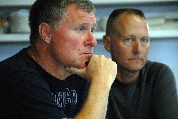 Selectmen Rob Farrington (left) and Darrell Lyons listen to the school board during a meeting at the Medway town office on Tuesday, June 17.