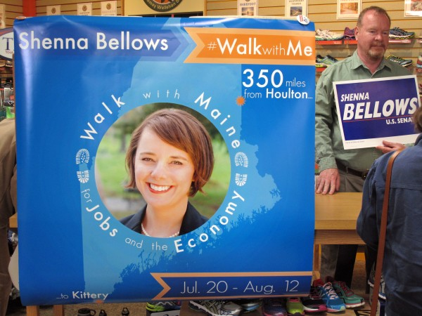 A supporter of Democrat Shenna Bellows awaits the U.S. Senate candidate at Lamey-Wellehan Shoes in Augusta. Bellows recently announced a four-week, 350-mile campaign walk from Houlton to Kittery.