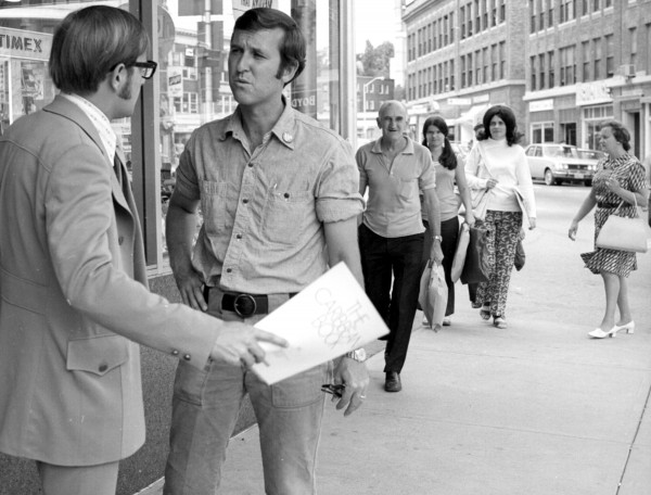 William S. Cohen campaigning in Bangor during his 1972 walk across Maine.