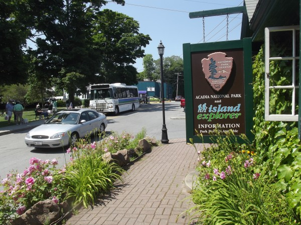 About 30 Island Explorer buses, shown at a stop at the village green in Bar Harbor, provide free transportation to people - residents and visitors alike - at Acadia National Park and the communities of Mount Desert Island.
