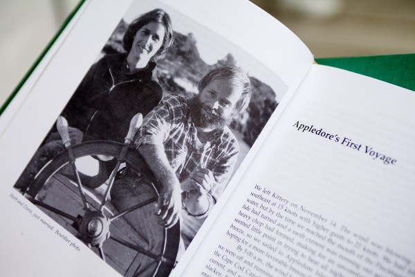 A picture of Herb and Doris Smith as newlyweds graces a page on one of their sailing books. The couple sailed around the world twice with their three children.