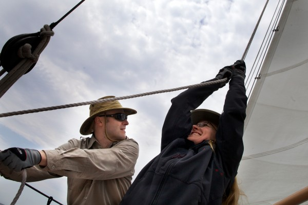 Tom Smith and his wife Jennifer sail the excursion schooner. The boat was built by Smith's father and launched in 1999.