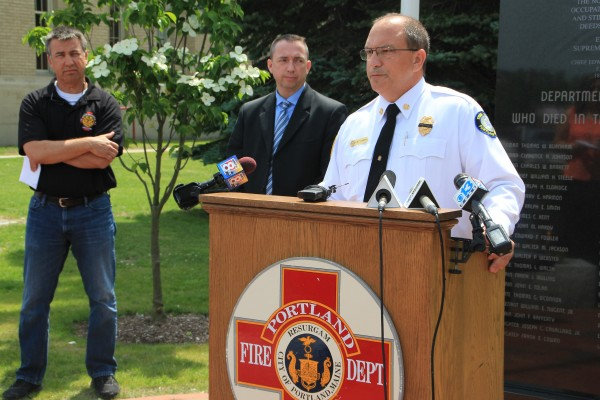 Portland Fire Department Chief Jerry LaMoria, right, said an investigation into the cause of 43-year-old Capt. Michael LaMoria's death during a diving accident Monday is still underway. Police Chief Michael Sauschuk, middle, and John Brooks, president of the Portland Firefighters Union Local 740, also spoke during the Tuesday press conference.