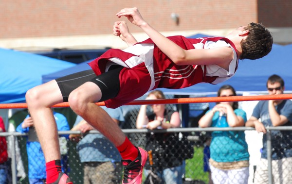 Orono's Jacob Fandel clears 5 feet, 4 inches in the high jump at the Class C state track and field championships Saturday at Foxcroft Academy.