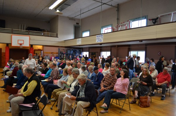 A crowd of nearly 200 gathered in the Dexter Town Hall for a public hearing on a moratorium on east-west corridor development on Thursday, June 13, 2013.