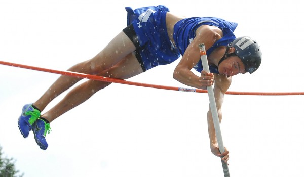Madison's Ron Helderman wins the pole vault, clearing 13 feet, 3 inches at the Class C state track and field championships Saturday in Dover-Foxcroft. He attempted to set a new state record, but came up just short trying to clear 13 feet, 10 inches.