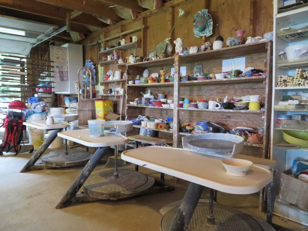 Six pottery wheels are on in display at the Windover Art Center in this June photo.