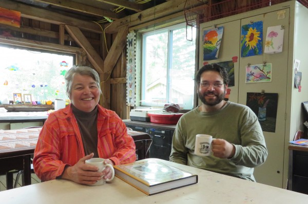 Mari Abercrombie (left) and her son Isaac Fer talk about the Windover Art Center in this June photo.