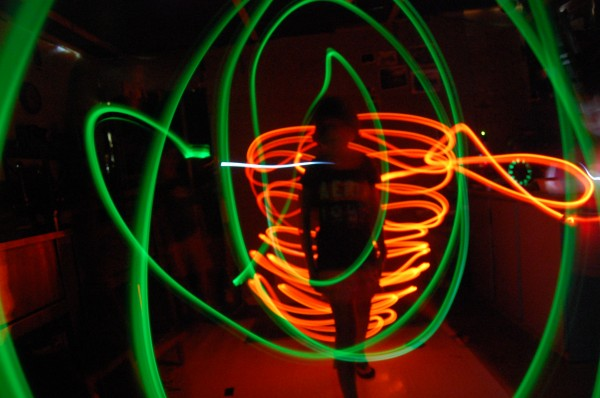 A student creates light graffiti in one of Windover Art Center's creative classes in Newburgh.