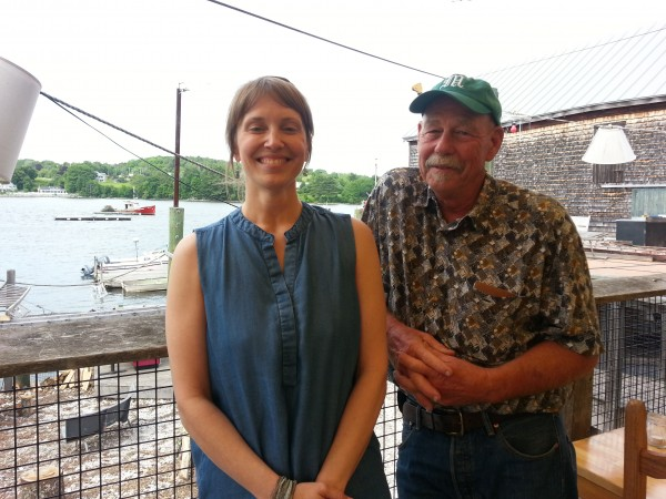 Hillary Krapf, the creator of the Maine Seaweed Festival, posed Wednesday afternoon on the deck of Three Tides in Belfast with Peter Arnold of Maine Fresh Sea Farms in South Bristol. They were in town to add sugar kelp to a batch of beer made at Marshall Wharf Brewing Co. that will be called Maine Sea Belt.