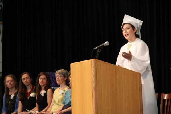 Jane Pappas was selected by the seniors of Mount Desert Island High School to give a graduation speech on Sunday. As part of her speech, she recited a poem. &quotWe've been throwing pebbles and making waves already,&quot she said. &quotWe've been practicing, we're finally ready.&quot