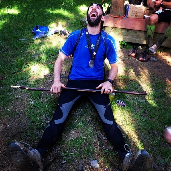 Maine native Kale Poland celebrates completing and winning the grueling Peak 500 ultra marathon earlier this month in Vermont.
