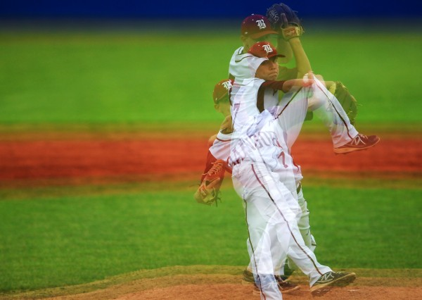 (Multiple exposure done in camera) Bangor's Trevor DeLaite pitches to Cony during their Eastern Maine baseball semifinal game Saturday at Mansfield Stadium in Bangor. Bangor won 1-0.