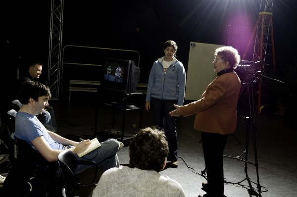 Sandra Hardy leads an acting class with her students at the University of Maine.