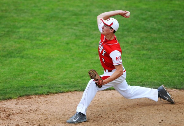 Cony's Mitchell Bonenfant pitches to Bangor during their Eastern Maine baseball semifinal game Saturday at Mansfield Stadium in Bangor. Bangor won 1-0.
