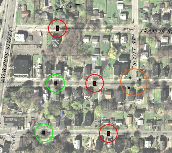 An overhead view of traffic calming measures presented June 19 at a public meeting shows the variety of raised surfaces, land constrictions and stop signs that will be added to cross streets between Congress Street and Brighton Avenue.