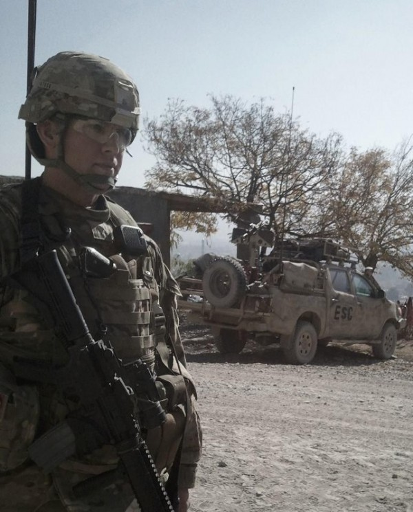 "Bucksport native Ben Arnold, a member of the Army National Guard, will be honored by the Boston Red Sox Wednesday night as part of its &quotHats Off to Heroes"" program. Arnold is shown here while on duty at Khost Province, Afghanistan, in December 2011."