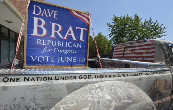A truck driven by a supporter for Tea Party candidate Dave Brat's campaign is parked in front of his headquarters in Glen Allen, Virginia, June 11, 2014. Brat defeated U.S. House Majority Leader Eric Cantor in a surprise primary upset for the Republican seat in suburban Richmond.