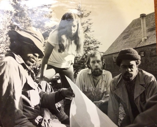 Dagny St. John (second from left) looks at a nautical chart with fellow instructors at Maine's Hurricane Island Outward Bound School in 1972.