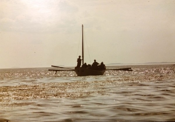 Students row a pulling boat during a Hurricane Island Outward Bound sailing course in Maine in the 1970s.