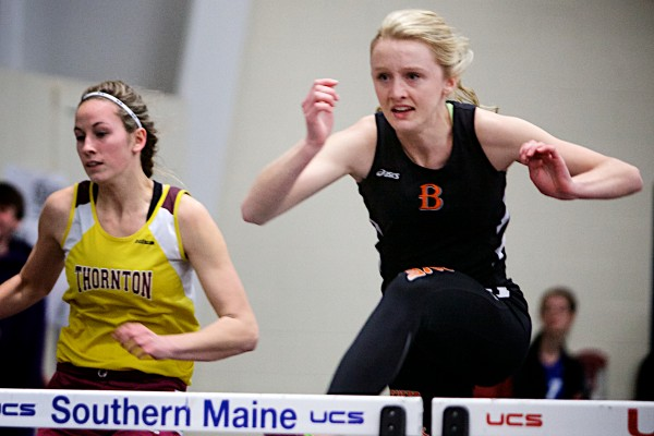Synclaire Tasker of Brewer (right), pictured during the 2014 Class A indoor state title meet, registered top-10 finishes in the 100 and 300 hurdles during Saturday's New England outdoor championships in Massachusetts.
