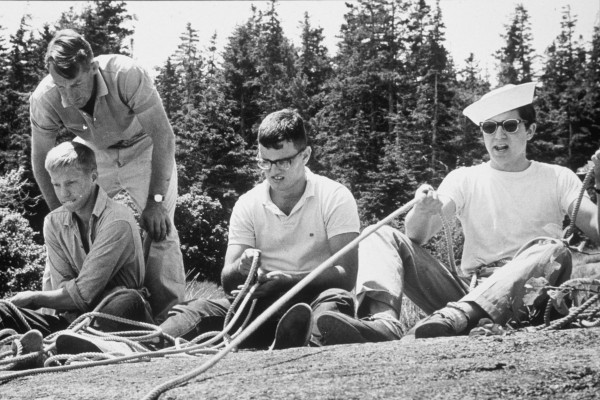 Students at Hurricane Island Outward Bound School in Maine learn how to belay rock climbers in the 1960s. The school, providing education in various types of outdoor adventure, was founded in 1964 by Peter Willauer.