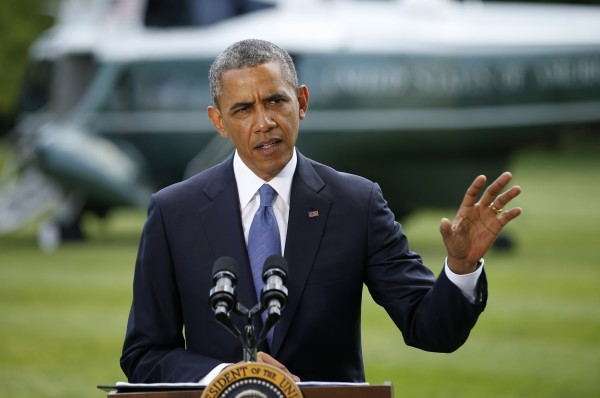 President Barack Obama speaks about the situation in Iraq from the South Lawn of the White House in Washington on Friday.