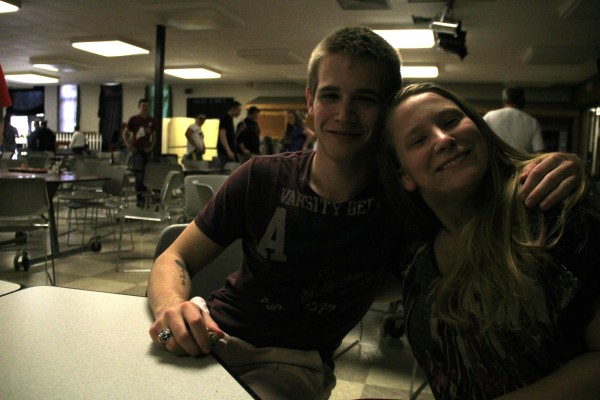 Megan Fowler poses with her friend Drake Thornley on Tuesday at Nokomis Regional High School.