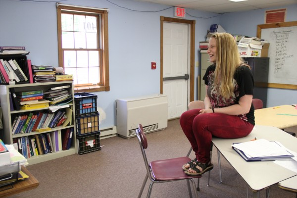 Megan Fowler discusses Tuesday at Nokomis Regional High School how she has made her cerebral palsy and the subject of bullying as a part of her speeches to spread awareness.