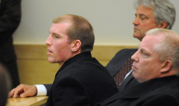 Nicholas Sexton (left) listens to the jury's verdict at the Penobscot Judicial Center Wednesday, May 28.