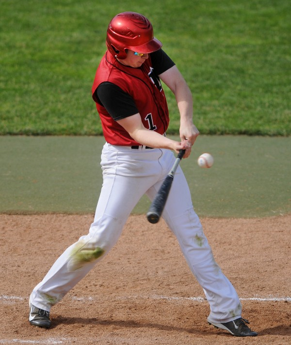 Wiscasset's Matthew Craig connects with a pitch from Bangor Christian during their Class D baseball state championship game at Mansfield Stadium Saturday in Bangor. Bangor Christian won 5-4 in eight innings.