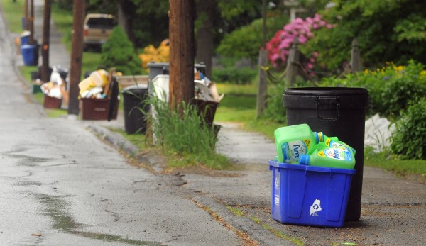 Recycling waiting to be picked up in Orono Thursday.  The City of Bangor will start no-sort system of recycling.