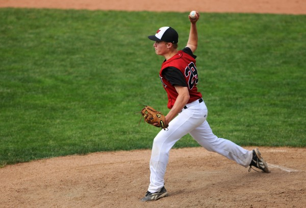 Wiscasset's Daren Wood pitches to Bangor Christian during their Class D baseball state championship game at Mansfield Stadium Saturday in Bangor. Bangor Christian won 5-4 in eight innings.