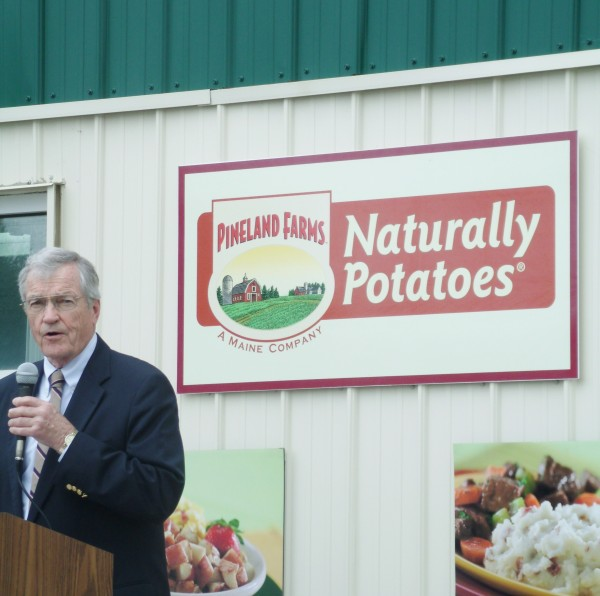 William Haggett, the chairman and chief executive officer of Naturally Potatoes in Mars Hill, speaks about an expansion project at the facility on Wednesday.