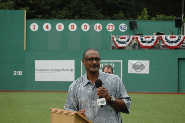 Boston Red Sox legend and Hall of Famer Jim Rice addresses the parents of Little League players from Maine, New Hampshire and Vermont at the dedication ceremony for the newly renovated Harold Alfond Fenway Park Saturday in Oakland, Maine.