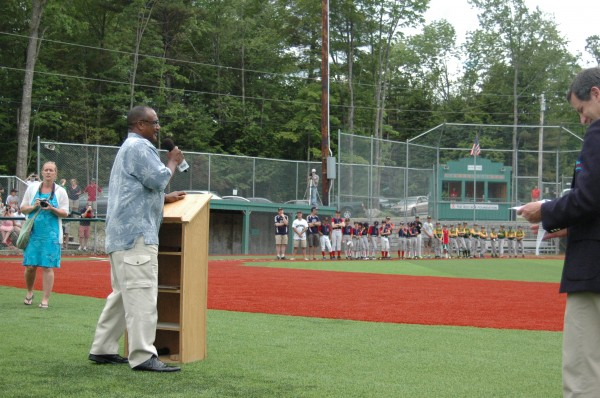 Boston Red Sox legend and Hall of Famer Jim Rice addresses Little League teams from Maine, New Hampshire and Vermont at the dedication ceremony for the newly renovated Harold Alfond Fenway Park Saturday in Oakland, Maine.