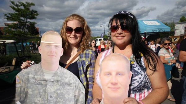 Erin Donnell of Levant poses with her flat daddy of her boyfriend, Sgt. Dana Gross; Amanda Kelly of Lewiston is on the right with her flat daddy of her husband, Sgt. Ryan Kelly.