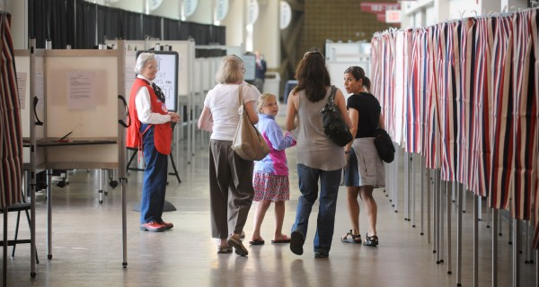 People came to vote at the Cross Insurance Center Tuesday morning.