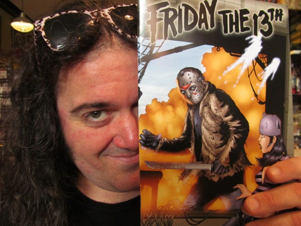 Tristan Gallagher, owner of Coast City Comics in Portland, holds a copy of a &quotFriday the 13th&quot comic book. Ari Lehman, the actor who first played the murderous Jason Voorhees in the &quotFriday the 13th&quot horror movie, will make an appearance at Gallagher's store on July 8.