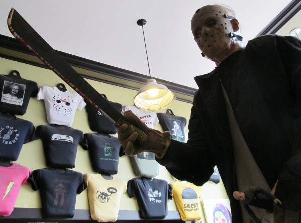 This nearly life-sized statue of Jason Voorhees from the &quotFriday the 13th&quot horror movies welcomes customers to Portland's Coast City Comics. The first actor to play the character will pose for photos and sign autographs at the store next month to raise money for charity.