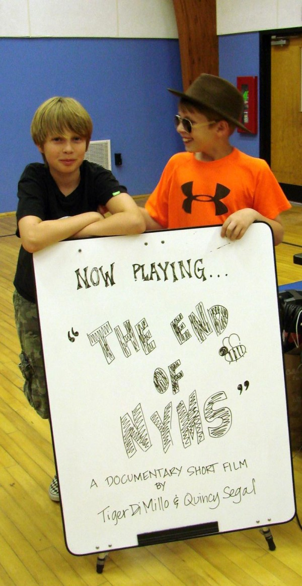 North Yarmouth Memorial School fourth-graders Tiger DiMillo and Quincy Segal promote a documentary they made about the school's upcoming closure.