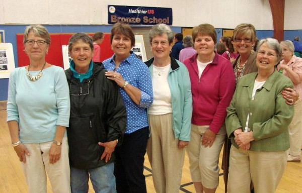 Last week's celebration of soon-to-be-closed North Yarmouth Memorial School drew several former teachers. From left are Dixie Hayes, Jeanne Chadbourne, Rosemary Goranites, Judy Maddox, Leeann Kennie, Kathi Hardy and Jane Mullany.