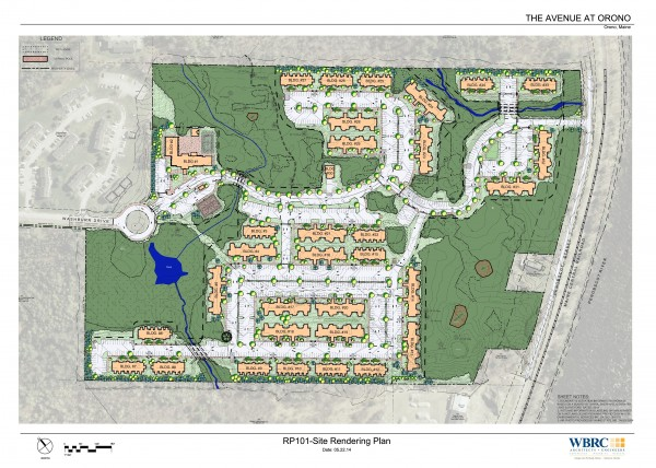 Master site plan rendering for The Avenue student housing complex in Orono.