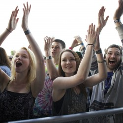 "From left, Trynity Plummer, Dakota Jenkins and Wyatt Jenkins of Houlton cheer after the Dave Matthews Band performed ""Two Step"" with Tim Reynolds at the Darling's Waterfront Pavilion in Bangor on June 6."