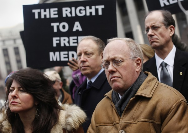 Hedges, former New York Times reporter and current Truthdig columnist, a plaintiff in Hedges v. Obama lawsuit filed against Obama Administration and members of U.S. Congress, stands outside 2nd U.S. Circuit Court of Appeals in New York in February 2013.