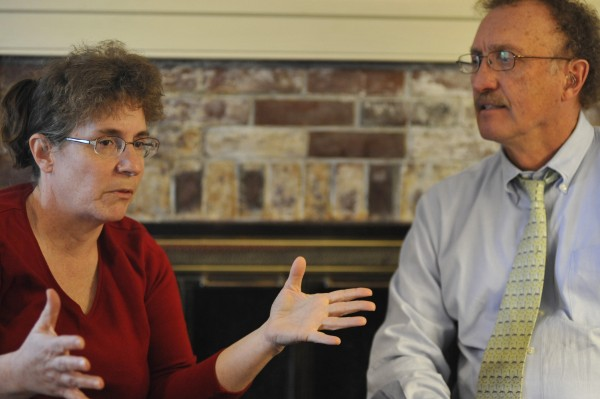 Cindy Dunton (left) and attorney Dale Thistle talked with the Bangor Daily News at Thistle's law office in Newport in this April 2011 file photo.