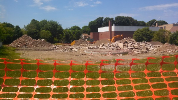 The remains of Brewer's former State Street School site on Tuesday.