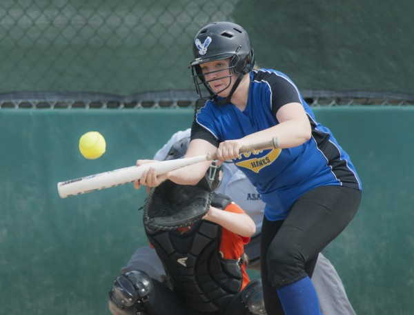 Hermon batter Shaniah Haskell shows her bunt Wednesday in the second inning of their Eastern Maine Class B championship game against Gardiner in Brewer.